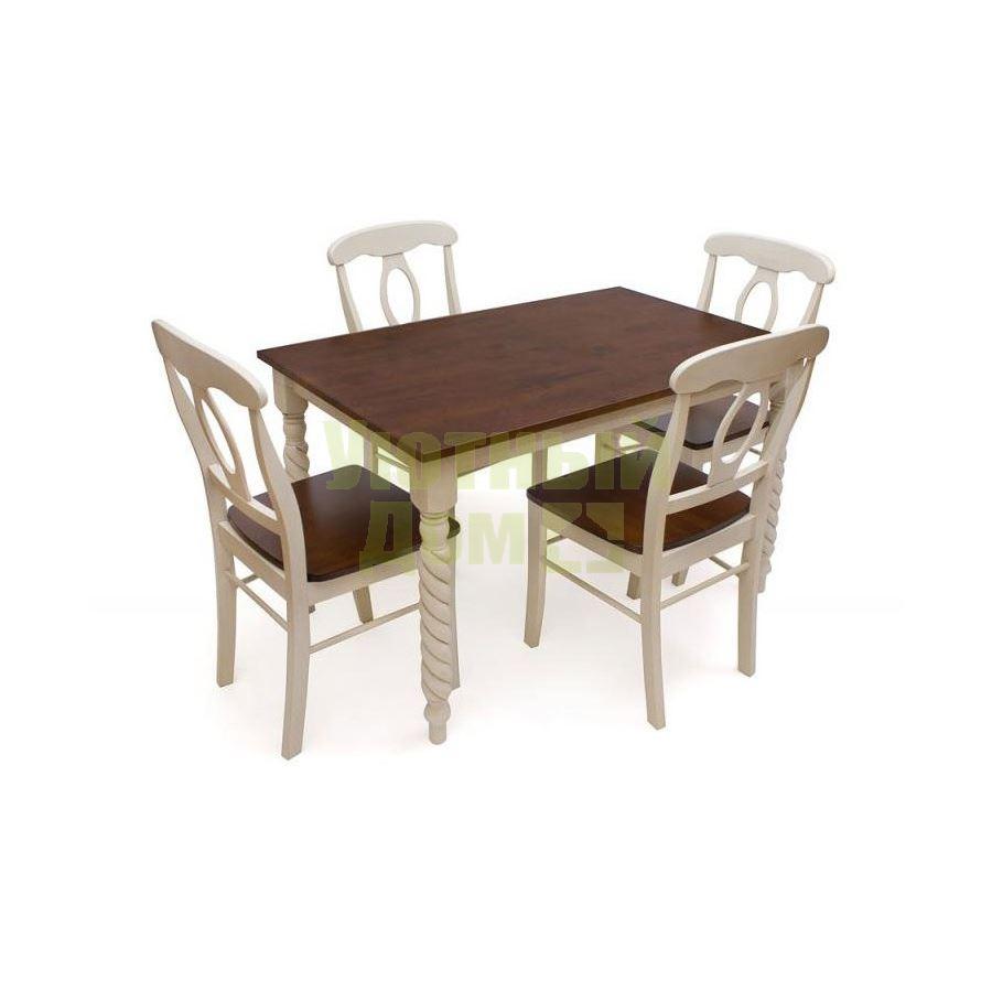 стол обеденный Napoleon античный белыйтёмный дуб